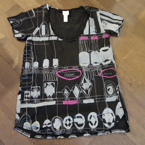Diesel Black and Gray Top Size S